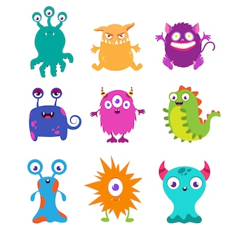 Cartoon funny monsters set for t-shirt