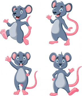 Cartoon funny mouse waving collection set