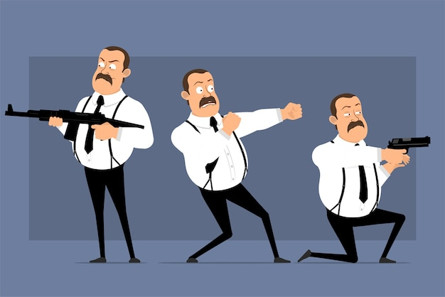Cartoon funny office worker postures isolated on blue