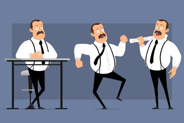 Мультфильм смешные позы офисного работника, изолированные на синем