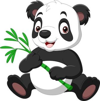 竹を保持している漫画面白いパンダ