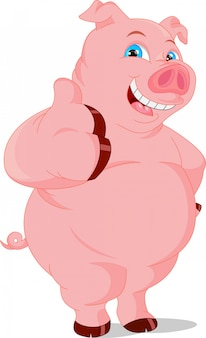Cartoon funny pig thumb up
