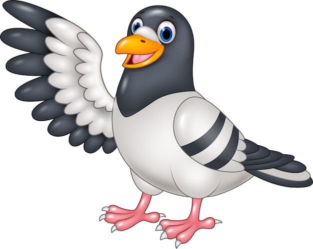 Cartoon funny pigeon bird presenting