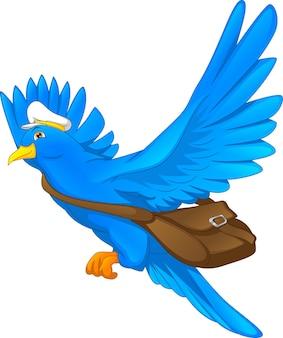 Мультяшный смешной голубь, доставляющий письмо на белом фоне