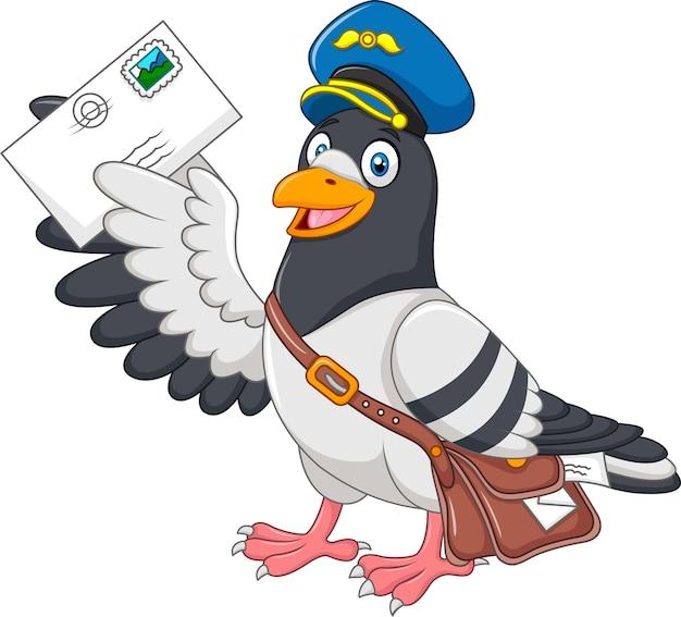 Cartoon funny pigeon delivering letter