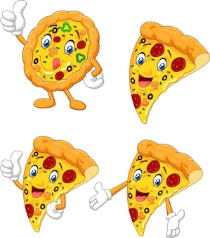 Cartoon funny pizza collection set