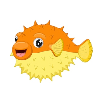 Cartoon funny puffer fish isolated on white