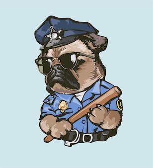 Мультфильм смешной мопс собака полицейский иллюстрация