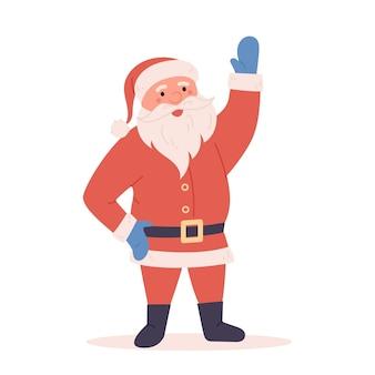 白い背景で隔離の手を振って漫画面白いサンタクリスマスのシンボル