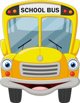 Cartoon funny school bus isolated on white background