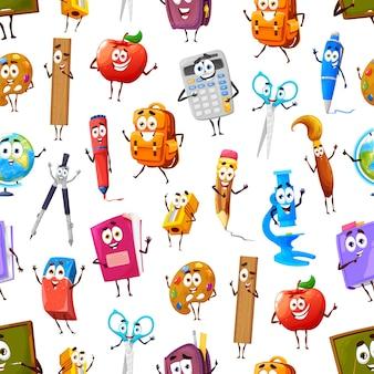 Мультфильм смешные школьные принадлежности и канцелярские принадлежности бесшовные модели. векторный фон с яблоком, линейкой, учебником и ластиком, палитрой, ножницами и рюкзаком с компасом, калькулятором, микроскопом и кистью
