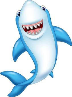 Мультфильм смешные акулы, изолированных на белом фоне