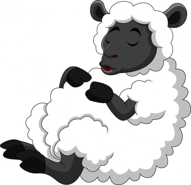 漫画面白い羊が眠っています。