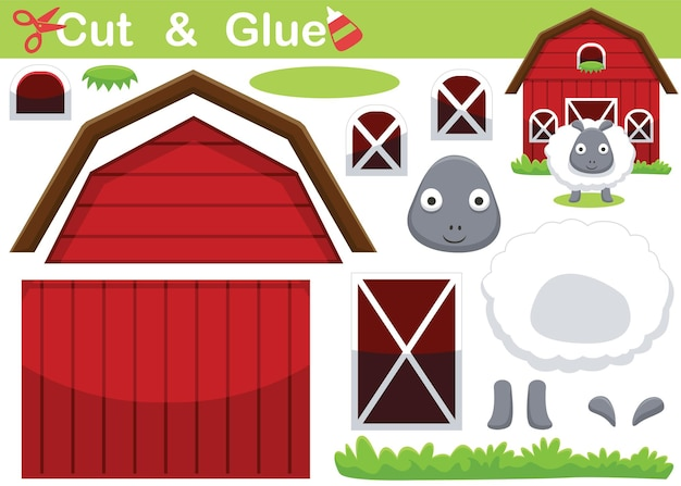 Cartoon of funny sheep in front of barn. education paper game for children. cutout and gluing