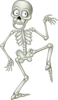 Cartoon funny skeleton dancing Vector | Premium Download