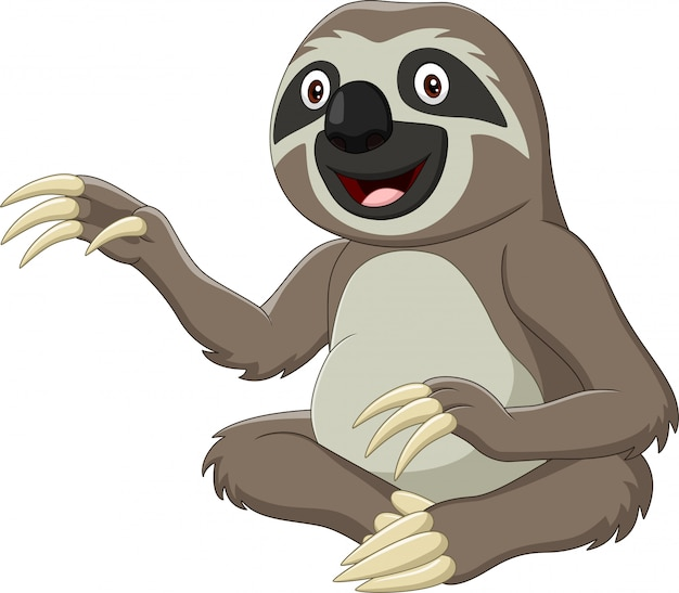 Cartoon funny sloth sitting and waving hand