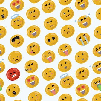 Cartoon funny smiley emojii face seamless pattern