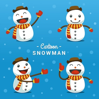 Cartoon funny snowman pose gesture collection set