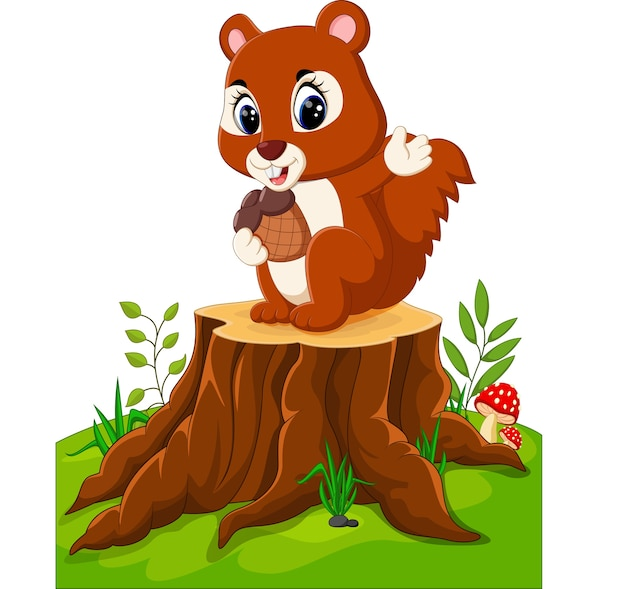 Cartoon funny squirrel holding pine cone on tree stump