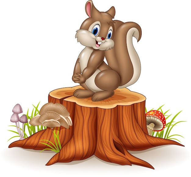 Cartoon funny squirrel on tree stump