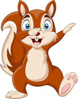 Cartoon funny squirrel waving hand