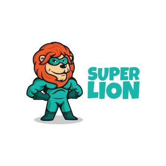 Мультфильм смешной супергерой лев позирует. супер лев персонаж.