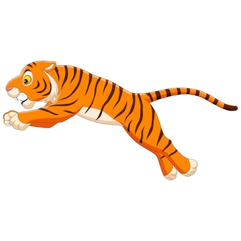 Cartoon funny tiger jumping on white