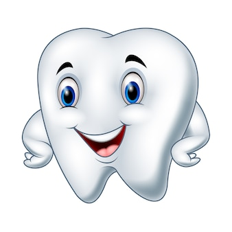 Cartoon funny tooth character posing