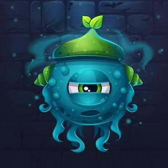 Cartoon funny vector illustration of character monsters slug nature