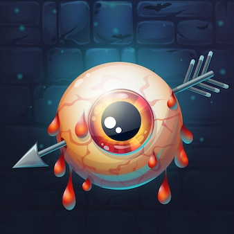 Cartoon funny vector illustration of  horrible bloody arrow pierced eyeball