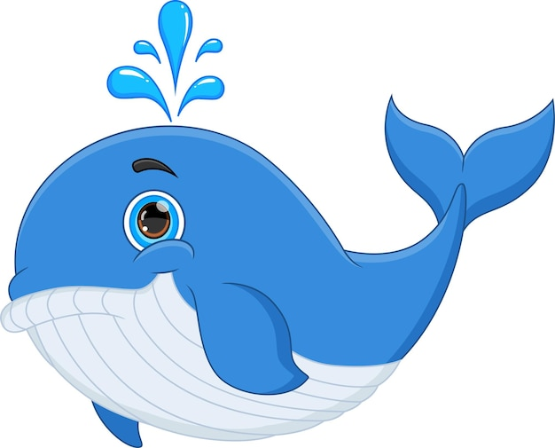 Cartoon funny whale isolated on white background