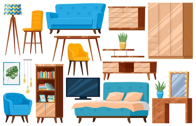 Cartoon furniture. household furniture items, bed, sofa, armchair and cupboard isolated set