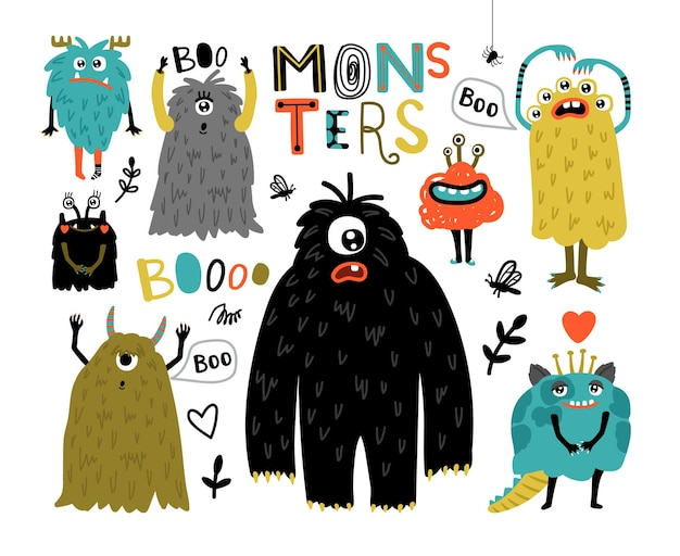 Cartoon furry monsters. cute creatures with fun face, little funny symbols of horror, humor characters for mascot, vector illustration monsters for stickers isolated on white backgr
