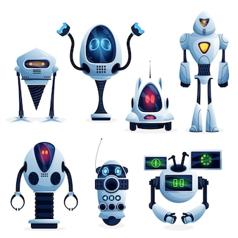 Cartoon future robots, industry robotic workers characters. vector androids on wheels, droids with clenches hands and drill, machine assistant with ai, toy or alien models with glowing neon light eyes