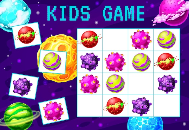 漫画の銀河と宇宙惑星数独迷路ゲーム。子供の教育ブロックパズルゲーム、ロジックリドルまたはワークシートテンプレート、ファンタジー宇宙惑星、小惑星、星と流星、クレーター、リング