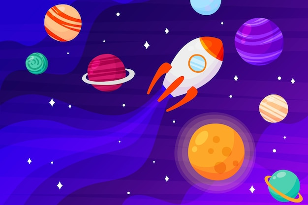 Cartoon galaxy background with rocket