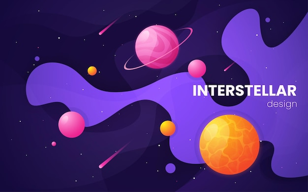Cartoon galaxy futuristic outer space  illustration