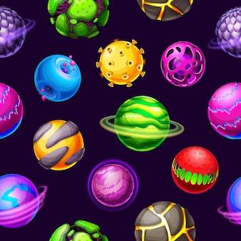Мультфильм планет галактики и космических звезд бесшовные модели. фантастические планеты, метеоры и астероиды, космическая вселенная с орбитальными кольцами, светящиеся гало, кратеры и магма, космическая Premium векторы