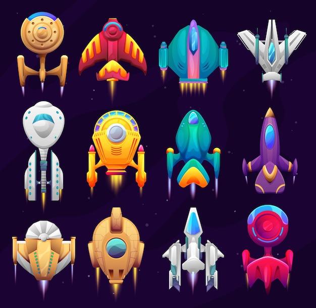 만화 은하계 우주 우주선, 게임 자산. 벡터 우주선 로켓, 우주선, 제트 엔진이 있는 판타지 차량, 현창, 우주 여행을 위한 날개. 미래 셔틀 상위 뷰