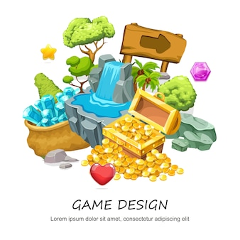 Cartoon game design composition with treasure chest of gold coins waterfall wooden signboard stone trees minerals jewel isolated
