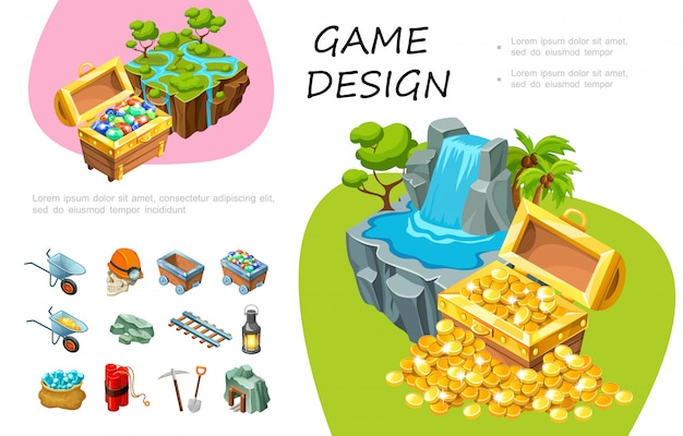 Cartoon game design composition with treasure chests of gemstones and cold coins waterfall trees mining elements