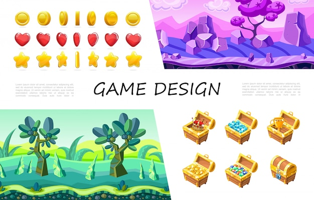 Cartoon game design ui composition with circle heart star buttons crown gemstones jewels gold coins cup in treasure chest fantasy nature landscape