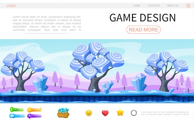 Cartoon game design web page template with fantasy magic forest landscape crystals minerals circle heart star buttons