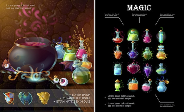 Cartoon game elements composition with medieval weapons witch cauldron bottles and flasks of different colorful magic potions and elixirs