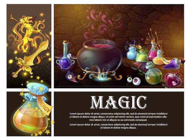 Cartoon game elements composition with sword heraldic royal lion human eyes witch cauldron and bottles of magic potions