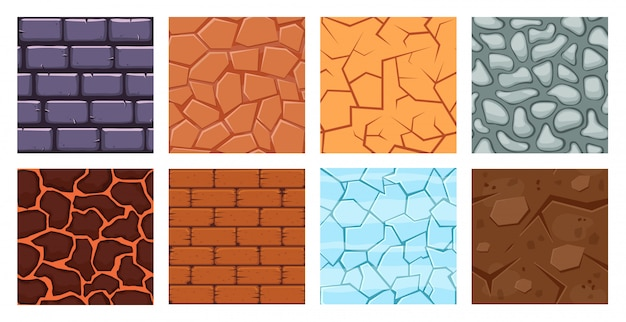 Cartoon game ground. texture game brick surface, ice, bricks sandy desert and dirt ground layers for game level   illustration set. cartoon surface pattern, rock and brick, sandy level