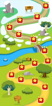 Шаблон карты уровня мультяшной игры с отметками, указатель дорожной вывески, река, летние и зимние пейзажи