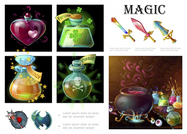 Cartoon game magic elements composition with swords shields mace witch cauldron bottle of love fortune energy poison potions