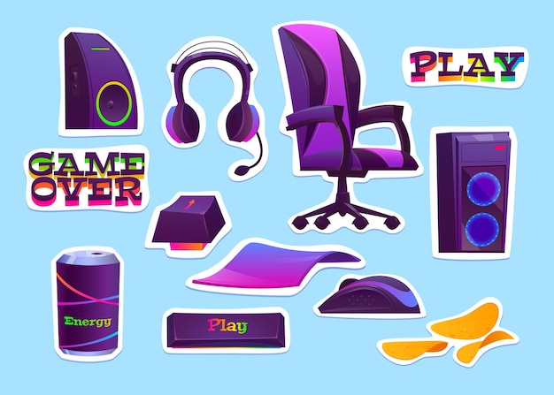 Cartoon game streamer concept elements collection