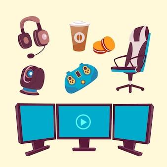 Raccolta di elementi di cartone animato gioco streamer